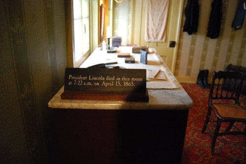 Lincoln died in this small room in the Peterson House, across the street from Ford\'s Theater.  Photo by Cathy Sherman.