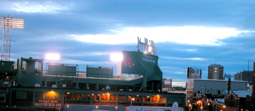 My daughter\'s apartment on Boylston in Boston overlooked Fenway Park stadium, where she could hear the roar of the crowds.  Photo by Cathy Sherman.