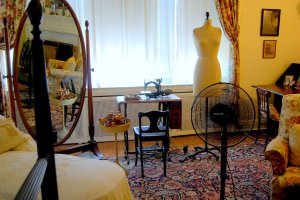 Even the wives of presidents sewed. This sewing machine, dress form and notions were in Edith Wilson's bedroom in Washington, D.C.