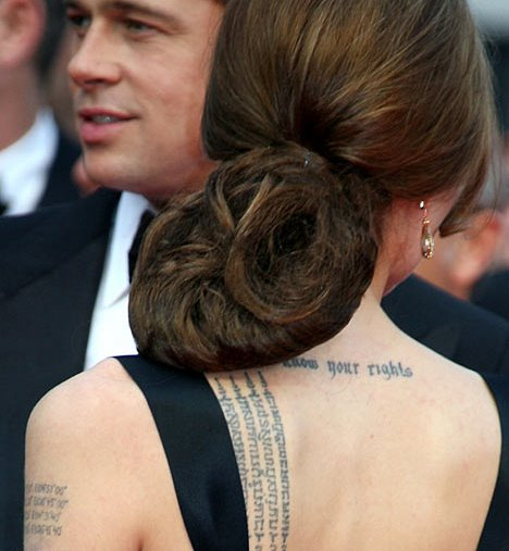 angelina jolie tattoos back. so tattoos, Angelina Jolie