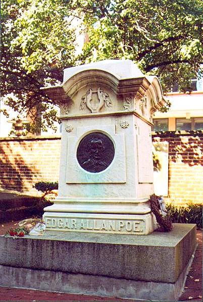 Edgar Allan Poe's grave in Baltimore, Maryland.