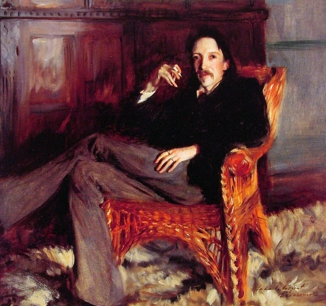 A portrait of Robert Louis Stevenson by John Singer Sargent.