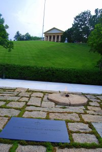Jacqueline Kennedy requested the eternal flame for her husband's grave at Arlington National Cemetery.  Above is Robert A. Lee's house, which he left at the onset of the Civil War. He and his family never returned to the house or the land, which is now the site of the cemetery and the Pentagon.