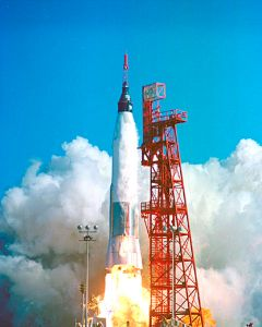"The launch of astronaut John Glenn's ""Friendship 7."""