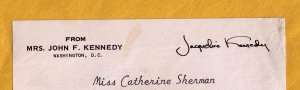 "I was so excited when I saw this envelope (cropped) in the mail. I wondered why there wasn't a stamp or a postmark, but my mother said it was ""franked,"" meaning Jackie Kennedy was allowed to send mail without stamps."