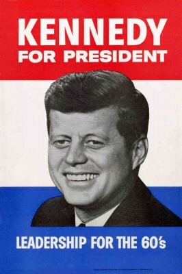 A poster like this was greeted my mother and I at the Wichita, Kansas, airport, in November 1959. Kennedy had stopped by to speak to supporters.