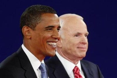 Barack Obama and John McCain look unusually happy during their second presidential campaign debate on October 7.