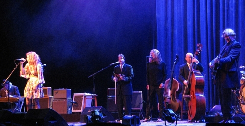 Allison Krauss and Robert Plant play with T-Bone Burnett and his band at Starlight Theater in Kansas City.
