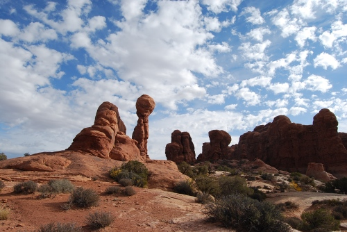 This balancing rock at Arches National Park reminds me of a Disney cartoon. The rock on top is the size of three school buses.