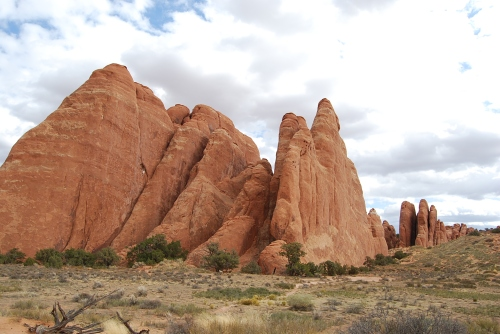 "These geologic features in Arches National Park are known as ""fins."""