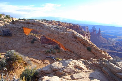 We hiked just after sunrise to Mesa Arch in Canyonlands National Park.