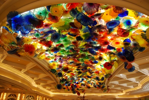 "Nature means something different in Las Vegas.  Here are glass artist Dale Chihuly's ""Fiori di Como"" on the ceiling of the lobby of the Bellagio Hotel."