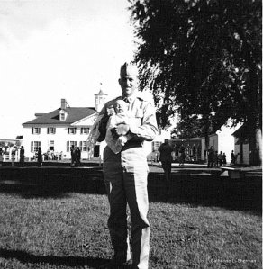 My father is holding me at Mt. Vernon, Virginia, George Washington's home, which was just down the road from Fort Belvoir, where my dather was stationed with the U.S. Army Corps of Engineers.