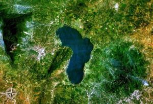 Here's a NASA satellite view of Lake Yojoa in Honduras.  You can see Santa Barbara Mountain to the left.