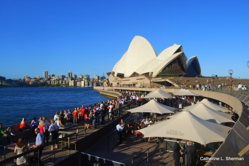 It's the Bar of Babel as speakers from all nations attempt conversation at the Sydney Opera House Bar.