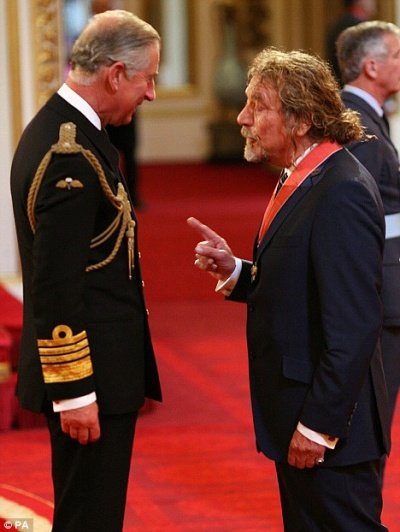 Robert Plant with Prince Charles.