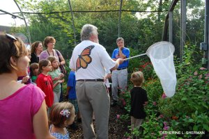 Chip Taylor shows how to sneak up on a butterfly to catch it with a net. Captured butterflies are tagged so that when they are found, the data on the tag can tell researchers about the butterfly's migration.