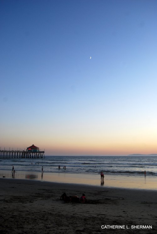 Huntington Beach Pier at Sunset.