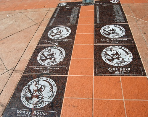 Part of the Surfing Walk of Fame in Pier Plaza in Huntington Beach, California.