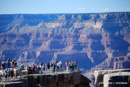 Tourists at the Grand Canyon.