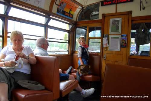 We rode the free tourist trolley around Melbourne, Australia.