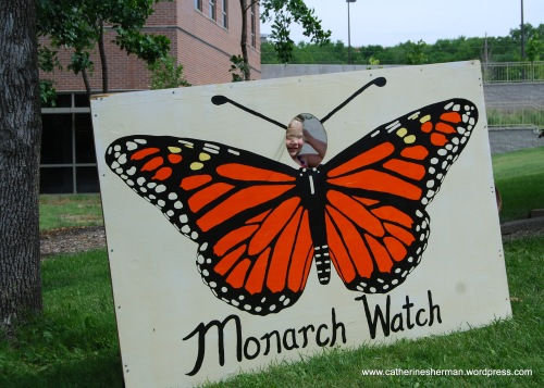 A child poses for a photograph in a Monarch Butterfly at the 2012 Monarch Watch Spring Annual Open House and Plant Sale. Lots of activities were available for children to enjoy.
