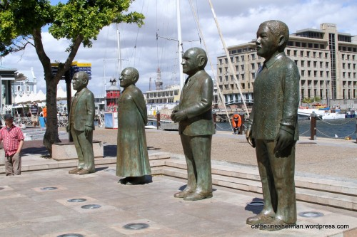Nobel Square in the Victoria & Alfred Waterfront in Cape Town, South Africa, features statues of South Africa's four Nobel Peace Prize winners - Albert Luthuli, Desmond Tutu, F. W. de Klerk and Nelson Mandela (shown left to right here.)