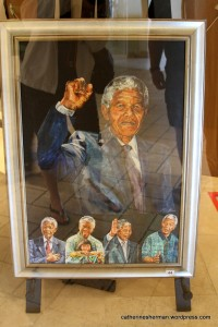 This print of Nelson Mandela was for sale in an art gallery in Camps Bay, South Africa. Sorry abut the glare.