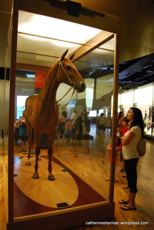 Phar Lap (1926–1932) was a champion Thoroughbred racehorse, whose hide is on exhibit in the Melbourne Museum, which is in the Carlton Gardens in Melbourne, Australia, adjacent to the Royal Exhibition Building. About Phar Lap