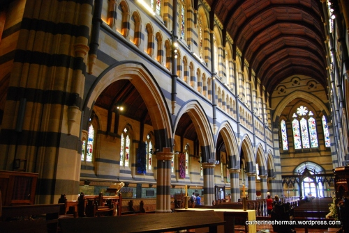 This is the interior of St Paul's Cathedral in Melbourne, which is the cathedral church of the Anglican Diocese of Melbourne, Victoria in Australia.