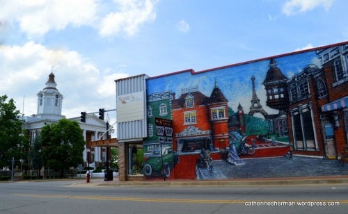 The Logan County Courthouse stands to the left of this Eiffel Tower Mural in Paris, Arkansas.  Travels pass through town on their way to Magazine Mountain State Park to the south. I hope some stop to enjoy this Parisian view.