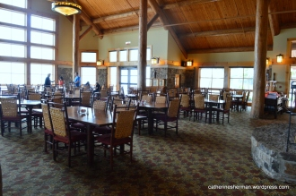 The dining room in the Lodge at Mount Magazine is beautiful with beautiful views.