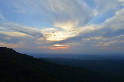 A view of the sunset from Cameron Bluff Overlook in Mount Magazine State park in Arkansas.