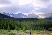Wildlife enthusiasts set up to photograph a herd of moose at the Brainard Lake Recreation Area in Colorado.