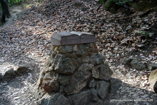 The Club Women of Napa County placed this memorial to Robert Louis Stevenson on Mt. St. Helena near the site of a cabin where Stevenson honeymooned with his new bride, Fanny. I couldn't find any information about when this memorial was placed.