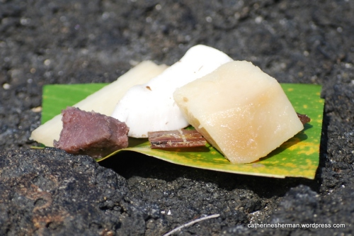 Here are some traditional Hawaiian foods, including taro, dried coconut and dried fish. We tried these foods at a Hawaiian ceremony in a park on the Kona Coast of the Big Island on February 2011.