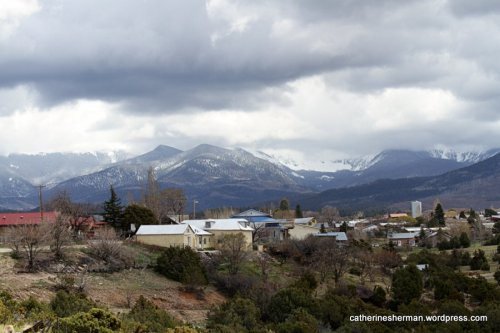 Here is a view of Truchas, New Mexico, just off of the road through the town, showing Truchas Peak.