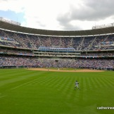 The Seattle Mariners hustle to catch a ball as a Royals player runs the bases on June 22, 2014.