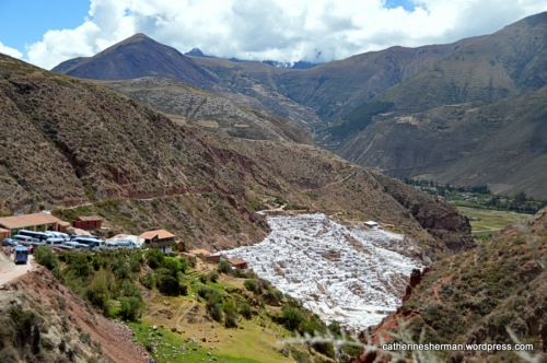 More than 3,000 salt evaporation pools in terraces spill down a valley near Maras, Peru. Peruvians have been harvesting salt from these ponds since before Inca times. The unpaved, narrow mountain roads don't stop tour buses and taxis from bringing many tourists to see this beautiful place.