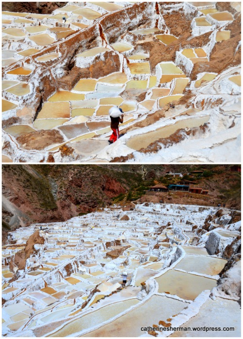 Peruvians have been harvesting salt from these salt pans near Maras, Peru, since before Inca times.  The beautiful salt pans have become a tourist attraction, too.