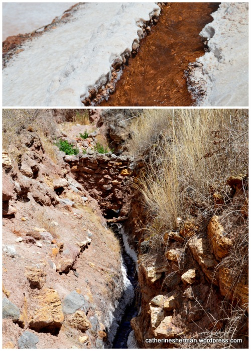 Salty spring water flows into the terraces of the salt pans  near Maras, Peru.