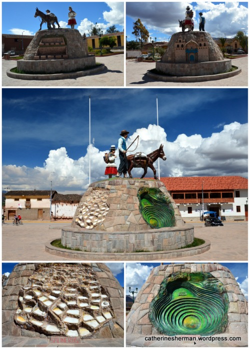 A sculpture in the center of the Plaza in Maras, Peru, displays some of the sights in the area, including Salineras and the Moray Inca agriculture circles.