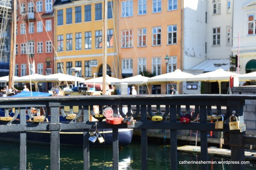 Locks on a bridge in Nyhavn, an historic area of Copenhagen, Denmark.