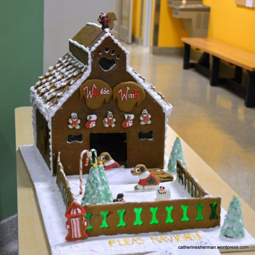 This Gingerbread House, by pastry chef Greg Connolly, resembles the Wayside Waifs building with its characteristic silo.  It greets visitors, staff and volunteers who come to Wayside Waifs.