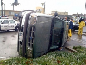 This car flipped over in a Long Beach, California, tornado in january 2010.