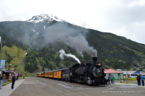 The Durango Silverton train arrives in Silverton, Colorado.