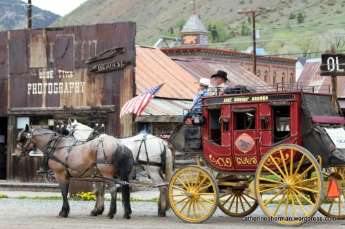 A stage coach in Silverton, Colorado, waits for riders.
