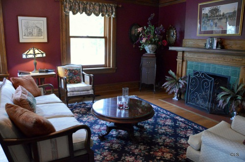 One of the living rooms in the suites at the Inn at 835 in Springfield, Illinois.