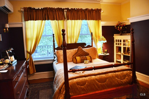 One of the original guest bedrooms in the Inn at 835, formerly the Bell Miller Apartments, in Springfield, Illinois.