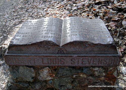 The Club Women of Napa County placed this memorial to Robert Louis Stevenson on Mt. St. Helena near the site of a cabin where Stevenson honeymooned with his new bride, Fanny.  It's a two-mile round trip hike from the parking lot.
